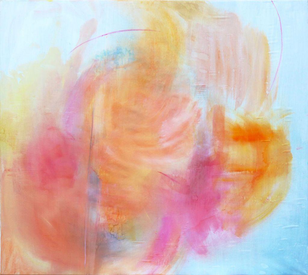 o.T. (Gemeinsam), Öl auf Seide, grundiertes Papier, 115 x 125 cm (2017)